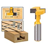 Yakamoz 1/2 Inch Shank T-Slot T-Track Slotting Router Bit Slatwall Groove Forming Milling Cutter Woodworking Tool