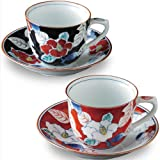 Hand-painted porcelain total color sasanqua pair coffee porcelain bowl plate (pair coffee cup and saucer set) (japan import)