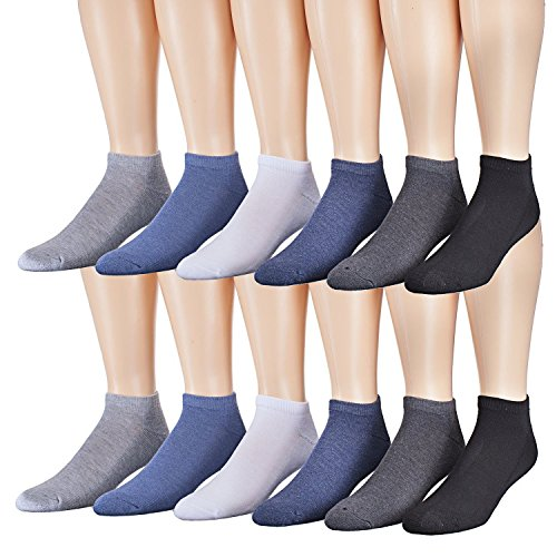James Fiallo Mens 12-pack Low Cut Athletic Socks, Fits shoe 6-12, 2891-12