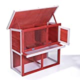 JAXPETY Waterproof 36'' Wooden Chicken Coop Hen House Rabbit Wood Hutch Poultry Cage Red