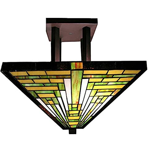 Traditional stained glass tiffany style frank lloyd wright mission traditional stained glass tiffany style frank lloyd wright mission ceiling lamp aloadofball Gallery