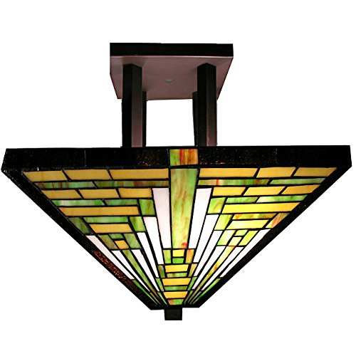 Traditional Stained Glass Tiffany Style Frank Lloyd Wright Mission Ceiling ()