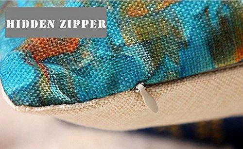 Funda de almohada, zeato Funny lovely animales abstracto Adorable [gato bajo paraguas] manta de lino y algodón cuadrado Funda de almohada decorativa sofá ...