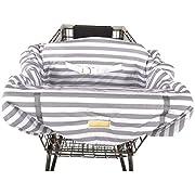 Balboa Baby Jersey Shopping Cart Cover - Grey & White Cabana Stripe