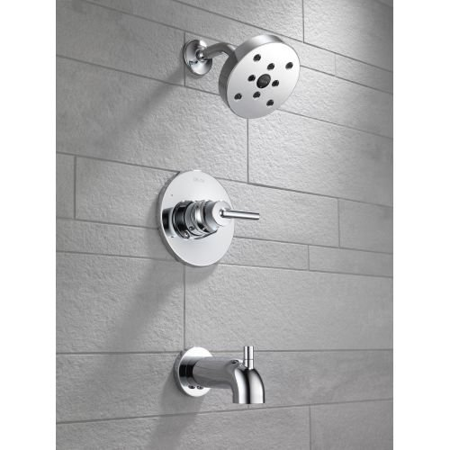 Delta T14459-BL Trinsic 14 Series Single-Function Tub and Shower Trim Kit with Single-Spray H2Okinetic Shower Head, Matte Black (Valve Not Included)