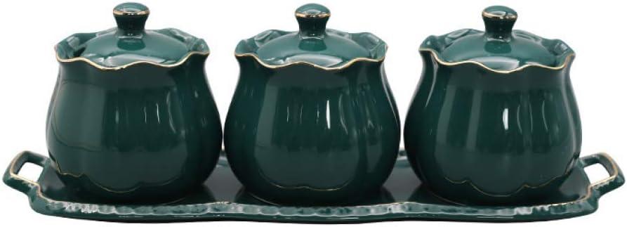 3 Pieces/Set Vintage Ceramic Condiment Jar-Ceramic Sugar Jar Bowls Container, Sugar and Salt Container with Lid Spoon Tray Seasoning Box Condiment Pots Spice Racks (Green)