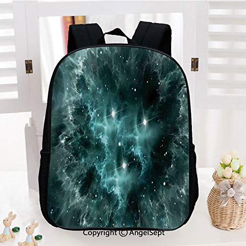 Kids Backpack Children Bookbag Space Nebula in the Space with Crystal Star Cluster Galaxy Solar System Cosmos Print Preschool Kindergarten Elementary School Travel Bag for Girls Boys,Teal