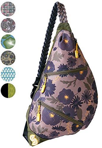 Slope Sling Bag for Women Kids School Crossbody Shoulder Backpack One Strap Daypack - Floral (Slope Arm)