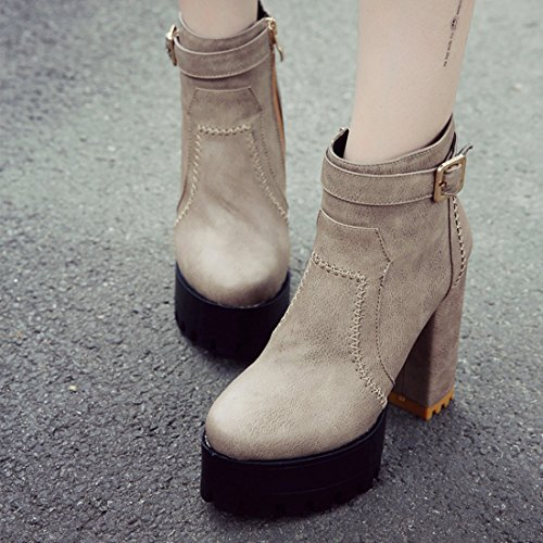 YE Damen Ankle Boots Chunky Heels Plateau Stiefeletten Geschlossen mit Reißverschluss Blockabsatz 11cm Elegant Bequem Schuhe Dunkelgrau