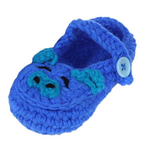 Bigood Strick Schuh Baby Unisex Strickschuh One Size süße Muster 11cm Schwein Dunkelblau