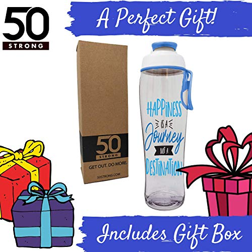 50 Strong BPA-Free Reusable Water Bottle with Time Marker, 30 Ounces (Happiness Journey)