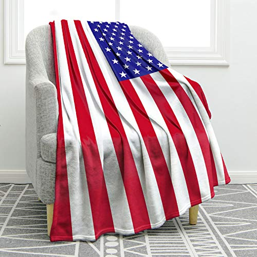 """Jekeno American Flag Throw Blanket Soft Ligtweight Durable Cozy Bed Couch US Blanket for Independence Day 50""""x60"""""""