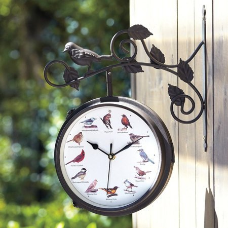 OUTDOOR SINGING BIRD CLOCK AND THERMOMETER