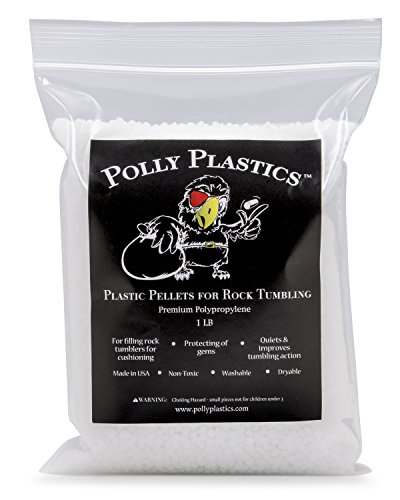 Polypropylene Plastic Poly Pellets Rock Tumbling Media. 1 Lb. Polly Plastics Rock Tumbler Filler Beads in Heavy Duty Resealable Bag.