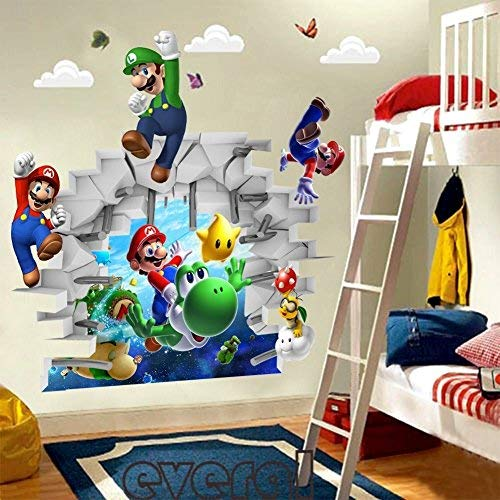 3d View Super Mario Games Art Kids Room Decor Wall Sticker Decals Mural Ws - Sticker Wall Decal]()