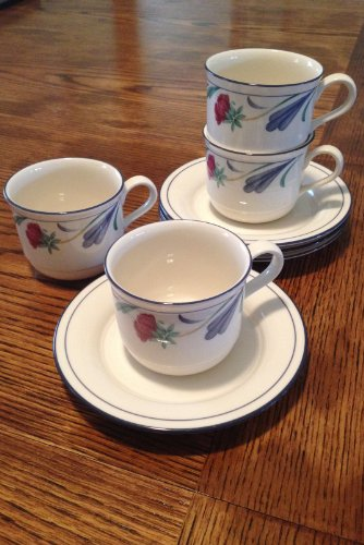 Lenox Poppies on Blue Cup and Saucer - 4 Sets Sold (Poppies On Blue Dinnerware)