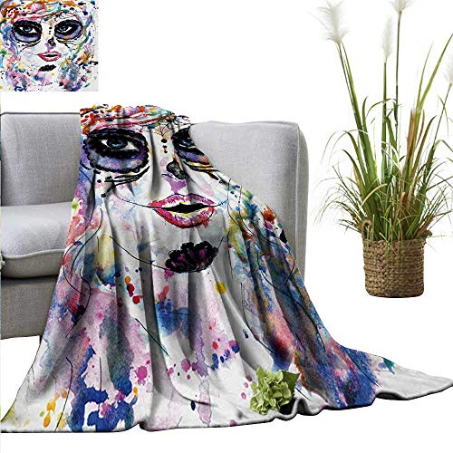 AndyTours Throw Blanket,Sugar Skull,Halloween Girl with Sugar Skull Makeup Watercolor Painting Style Creepy Look,Multicolor,Sofa Super Soft, Plush, Fuzzy Microfiber Throw Reversible,Comfy 60