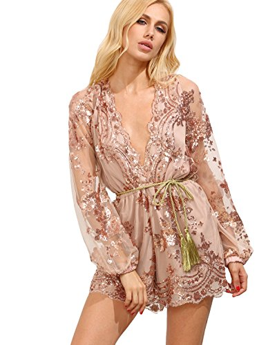 Verdusa Women's Plunge V Neck Sequin Long Sleeves Lace Romper Jumpsuit Apricot L