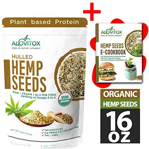 Alovitox Organic Raw Shelled Hemp Heart Seeds | Gluten-Free, Soy-Free & NON-GMO | 100% Pure Superfood |16 oz Bag
