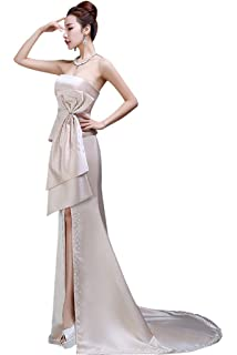 Drasawee Womens Satin Beaded Strapless Evening Dresses Floor Length Formal Prom Party Gowns