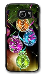 Colorful Christmas balls PC Case Cover for Samsung S6 and Samsung Galaxy S6 Black
