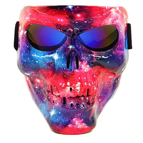 Vhccirt Airsoft/Paintball/Motorcross Protective Mask Halloween Spooky Decor Scary Skull/Zombie Face Mask Halloween Grim Reaper Cosplay Nebula/Stardust Mask Blue Lenses]()
