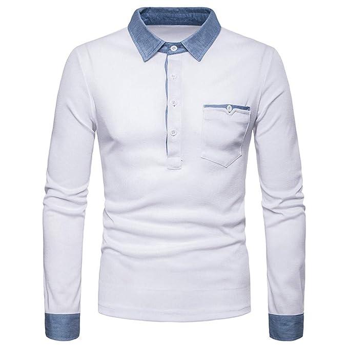 Cebbay Liquidación Top de Manga Larga para Hombre Solapas de Botones de  Bolsillo Camisa Polo Otoño 58b716ca93785