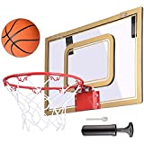 "AMPERSAND SHOPS Indoor Active Sport Basketball Hoop 18"" x 12"" (White / Gold)"
