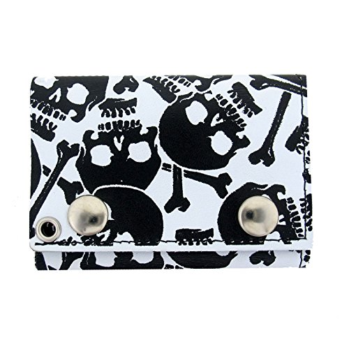 Men's White Leather Wallet Trifold Black Skull Bones Biker Chain (Bones Wallet Chain)