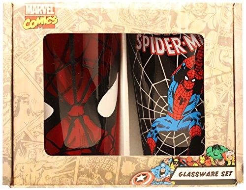 Silver Buffalo MC031P75 Marvel Spiderman Boxed Pint Glasses ( 2-Piece Set), 16 oz. Each, Red