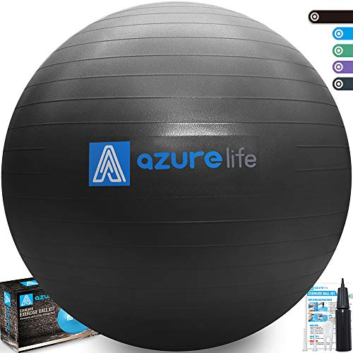 A AZURELIFE Professional Grade 58-65cm Exercise Ball, Anti-Burst & Non-Slip Stability Balance Ball with Quick Pump Included, Perfect for Birthing, Yoga, Pilates?Desk Chairs, Therapy