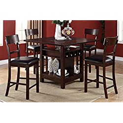 Poundex F2347 & F1207 Dark Brown Finish with Black Vinyl Counter Height Dining Set