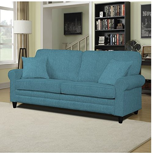 Portfolio Bradley Caribbean Blue Linen Traditional SoFast Sofa Couch