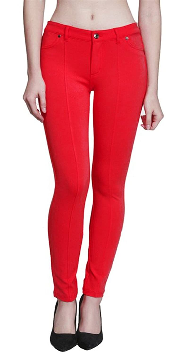 Women's Basic Solid Color Leg Slimming Seams Skinny Jeans