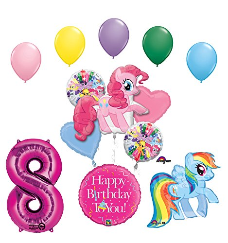 Mayflower Products My Little Pony Pinkie Pie and Rainbow Dash 8th Birthday Party Supplies and Balloon Decorations