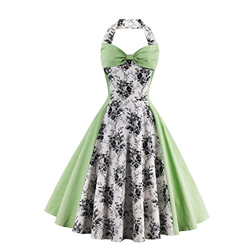 [Women Green Vintage Swing Cocktail Dress Plus Size Retro Party Dresses Style 2 Green S] (1950 Dress)