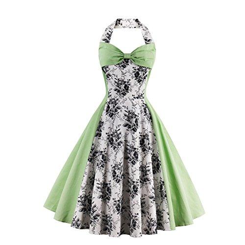 Women Green Vintage Swing Cocktail Dress Plus Size Retro Party Dresses Style 2 Green M