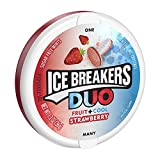 ICE BREAKERS DUO Fruit + Cool Mints, Strawberry Flavor, Sugar Free, 1.3 Ounce Container (Count of 8)