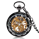 Black Antique Pocket Watch, Jewelry Hand Winding Mechanical Pocket Watch, Astonishing Gift for Men