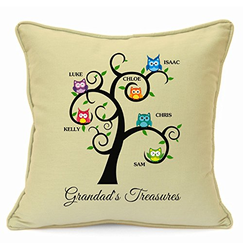 Personalized Presents Gifts For Grandad Grandpa Nanna Birthday Fathers Day Christmas Xmas Family Tree Owls Cushion Cover 18 Inch 45 Cm Unusual Special Unique Idea Home Decor