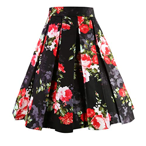 Dresstore Vintage Pleated Skirt Floral A-line Printed Midi Skirts with Pockets Chinese Style-M -