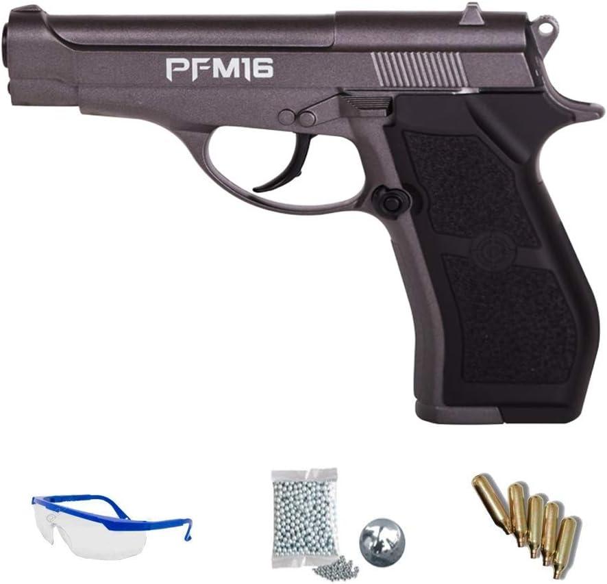 Pack Crosman PFM16 - Pistola de Aire comprimido (CO2) y balines de Acero (perdigones BBS) Calibre 4.5mm. Réplica Tipo Beretta 84 + Accesorios <3,5J