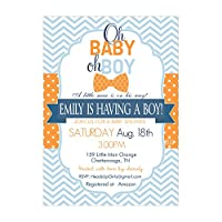 Set of 12 Customizable Personalized Baby Shower Invitations and Envelopes with Little Man Bowtie in Blue and Orange NV159
