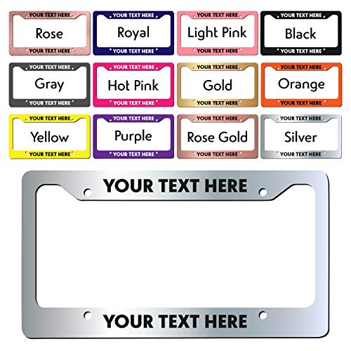 (Amazing Items Personalized License Plate Frame - UV & Water Resistant Permanent Print Aluminum Custom Metal Frame- D3)