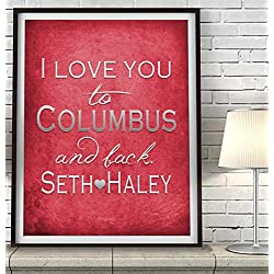 """I Love You to Columbus and Back"" Ohio ART PRINT, Customized & Personalized UNFRAMED, Wedding gift, Valentines day gift, Christmas gift, Graduation gift, All Sizes"