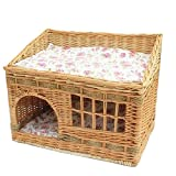 Layboo Handmade Square 2 Level Rattan Wicker Pet(Small Dog/Cat /Rabbit) Cat Delivery Room/House Tent with Cushion (Original Color) Review