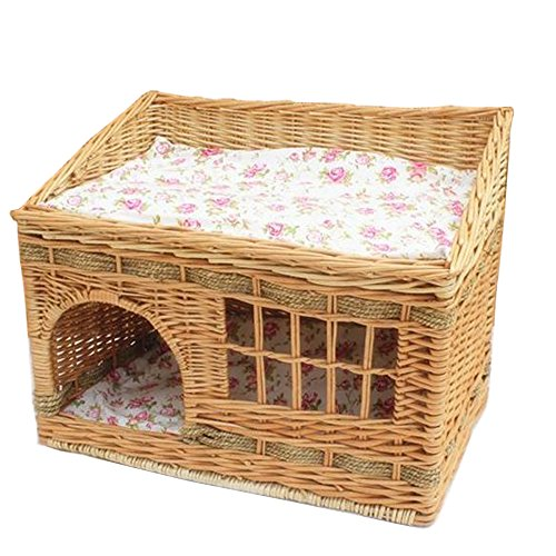 Layboo Handmade Square 2 Level Rattan Wicker Pet(Small Dog/Cat /Rabbit) Cat Delivery Room/House Tent with Cushion (Original Color) ()