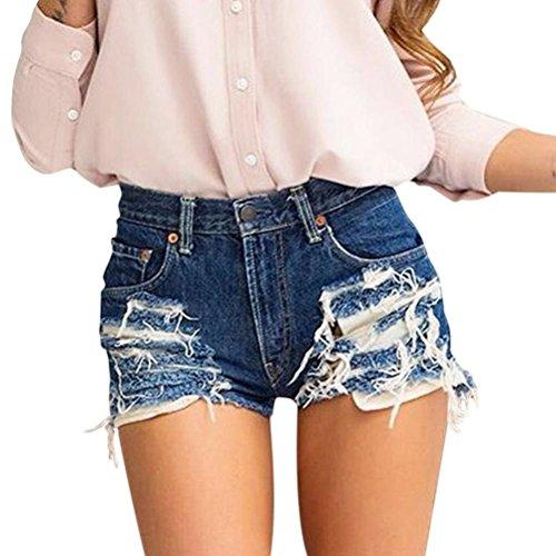 OHQ Pantalones Vaqueros De Mujer Pantalones Cortos De Mezclilla Traseros Con Cremallera De Mujer Pantalones Largos De Pierna Ancha Con Borlas Pantalones Vaqueros Cortos Popular En 2018 Azul