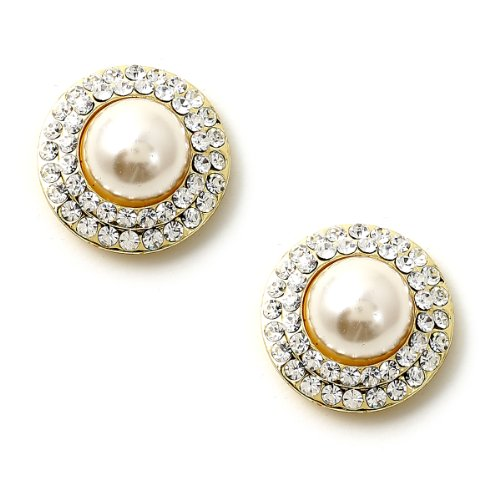 Gold Crystal Rhinestone Double Row Circle Around a Cream Pearl Center Earrings -