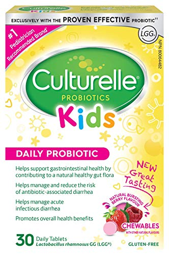 Culturelle® Kids Daily Probiotic Chewables  Help Support your Child's gastrointestinal health WIth 100% LactobacillusGG -The Most Clinically studied probiotic ††††††  Pediatrician Recommended† 30Count